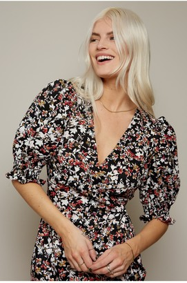 Little Mistress Firth Floral-Print Midi Wrap Dress