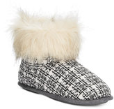 Cuddl Duds Abstract Grid Faux-Fur-Trim Booties