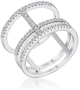 Kate Bissett Cubic Zirconia & Silvertone Parallel Ring