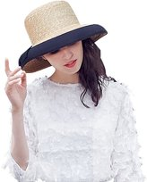 HomArt Women's Summer Medium Brim Sun Beach Straw Hats Kentucky Derby Hats