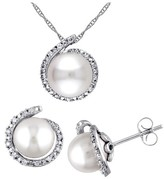 Allura 8-8.5 MM White Freshwater Pearl and 1/7 CT. T.W. Diamond Earrings and Necklace Set in 10K White Gold
