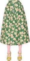 Rochas Magnolia Printed Cotton Duchesse Skirt
