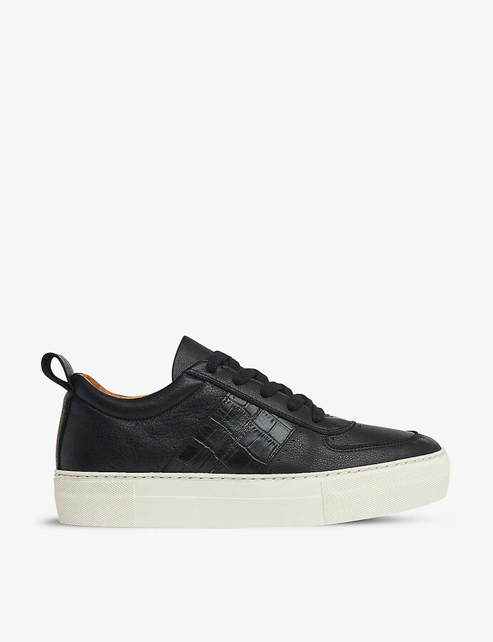 Whistles Anna snake-embossed leather trainers