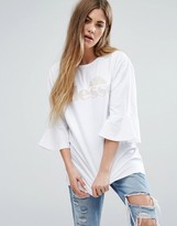 Ellesse Oversized T-Shirt With Frill Sleeves And Tonal Logo