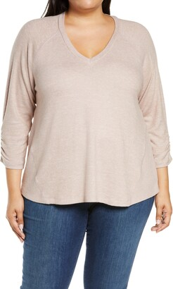 Bobeau Cozy Ruched Sleeve Swing Top