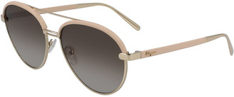 Salvatore Ferragamo Metal & Leather Aviator Sunglasses