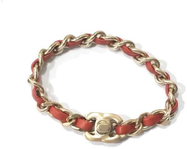 Chanel Gold Chain Coral Orange Leather Turnlock Bracelet