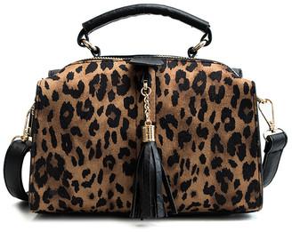 Ella & Elly Women's Handbags Brown - Brown Leopard Tassel-Accent Satchel