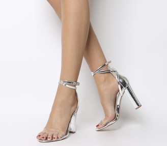 Office Haylee Ankle Strap Block Heels Silver Mirror Clear Strap