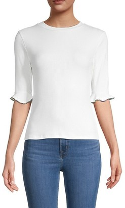 Lea & Viola Embellished-Sleeve Top