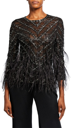 Naeem Khan Chevron-Beaded Lace Top with Feather Trim