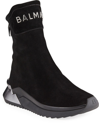 Balmain Men's B Glove Suede Zip High-Top Sneakers