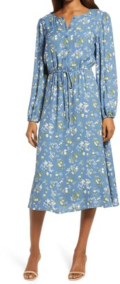 Reformation Lisse Floral Long Sleeve Midi Dress