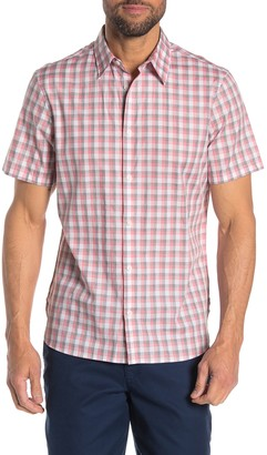 Calvin Klein Checkered Placket Short Sleeve Classic Fit Shirt