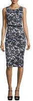 Michael Kors Floral-Print Stretch-Cotton Sheath Dress, Black/White