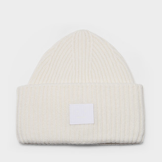 Acne Studios Pansy N Face Beanie In Optic White Wool