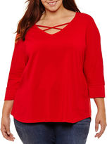 Boutique + + 3/4 Sleeve T-Shirt-Womens Plus