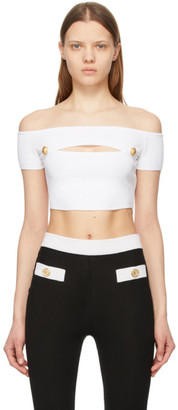 Balmain White Off-The-Shoulder Cropped Tank Top