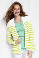 Lands' End Women's Linen Open Drape Cardigan Sweater-Cool Blue Diagonal Stripe