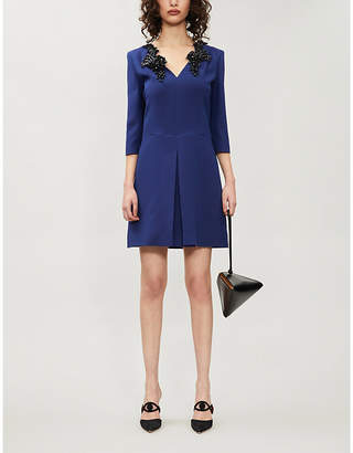 Emilio Pucci Bead-embellished wool and silk-blend mini dress