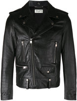Saint Laurent scale textured biker jacket - men - Cotton/Lamb Skin/Polyester/Cupro - 52