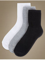 M&S Collection 3 Pair Pack Cotton Rich Ankle High Socks