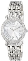 Timex Women's T2P2589J Crystal Silver-Tone Stainless Steel Bracelet Watch