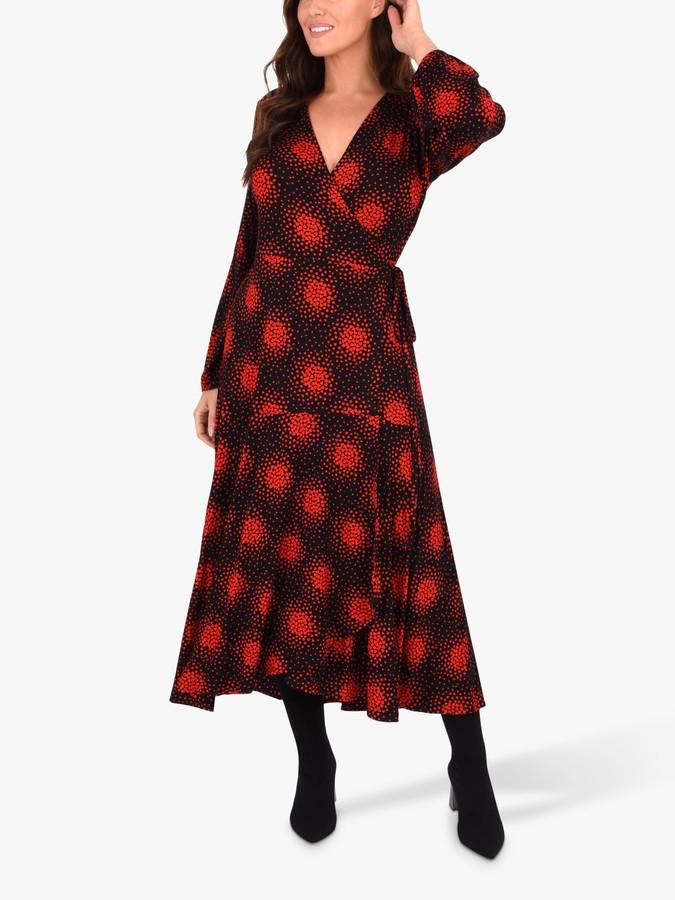 Live Unlimited Curve Printed Wrap Dress, Black/Multi