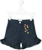 Fendi floral embroidered denim shorts