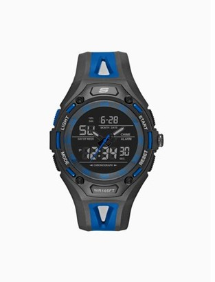 Skechers Liberty 47MM Sport Analog-Digital Chronograph Watch with Plastic Strap and Case, Black and Blue