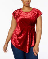 NY Collection Plus Size Velvet Asymmetrical Top