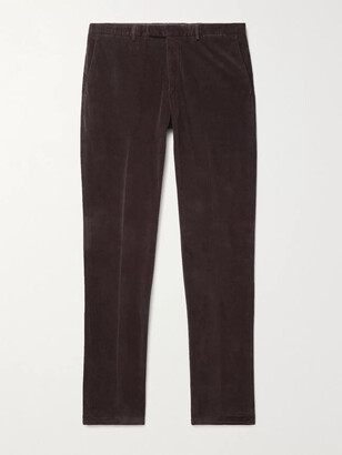 Boglioli Kei Tapered Garment-Dyed Cotton-Velvet Suit Trousers - Men - Brown