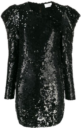 P.A.R.O.S.H. Sequinned Puff-Shoulder Dress