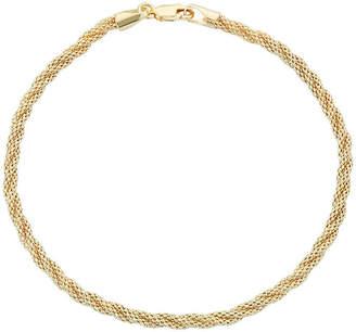 FINE JEWELRY 14K Gold 7.5 Inch Hollow Braid Chain Bracelet