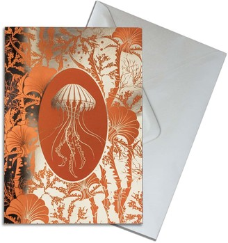 The Curious Department Elemental Jellyfish Gold Greeting Cards Pack of 10