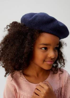 MANGO Embroidered message wool beret