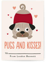 Minted Pugs & Kisses Classroom Valentine's Day Cards