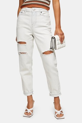 Topshop Womens Petite Bleach Ripped Mom Tapered Jeans - Bleach Stone
