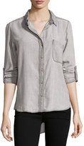 Velvet Heart Tab-Sleeve Button-Down Blouse, Light Gray