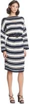 Oscar de la Renta Striped Wool-Cashmere Dress