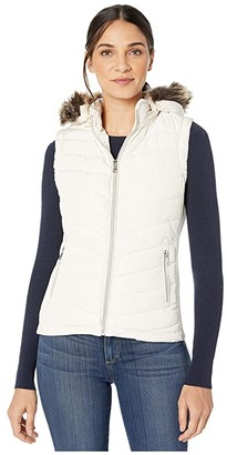 YMI Jeanswear Snobbish Polyfill Puffer Vest with Faux Fur Trim Hood