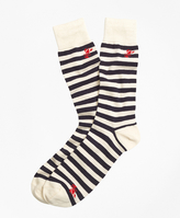 Brooks Brothers Thin Stripe with Lobster Motif Crew Socks
