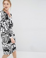 Dr. Denim Text Print Long Sleeve Jersey Dress