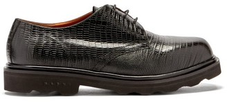 Marni Crocodile-effect Patent-leather Derby Shoes - Black
