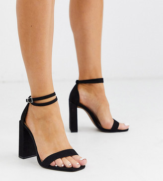 ASOS DESIGN Wide Fit Notice barely there heeled sandals in black