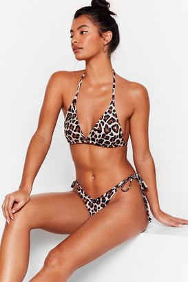 Nasty Gal Womens Leopard Print Triangle Bikini Set - Brown