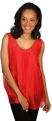 skinnytees Missy Sleeveless Silk & Sequin Blouse