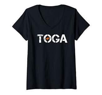 Womens Toga Saratoga Springs Horse Racing V-Neck T-Shirt
