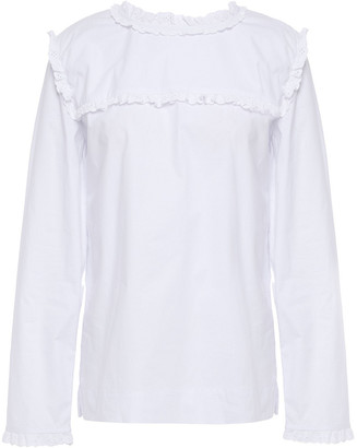 Isolda Broderie Anglaise-trimmed Stretch-cotton Poplin Blouse