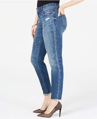 INC International Concepts Inc Curvy-Fit Studded Frayed-Hem Skinny Jeans